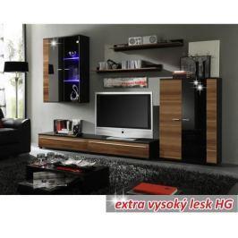 Tempo Kondela Obývací stěna, s LED osvětlením, švestka/černá extra vysoký lesk HG, CANES NEW