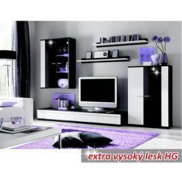 Tempo Kondela Obývací stěna, s LED osvětlením, bílá/černá extra vysoký lesk HG, CANES NEW