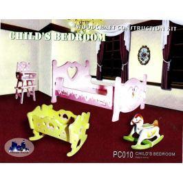 Dřevěná skládačka - Dětský pokoj barevný PC010