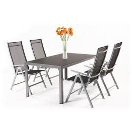 Garland - nábytek Garland Remus 4+ sestava nábytku z hliníku (1x stůl Frankie + 4x pol. křeslo Raul Basic)