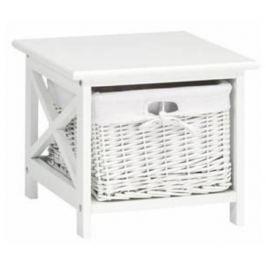 Tempo Kondela Noční stolek, 1 košík, bílá, RAFAELLO