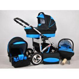 Kočárek babylux Largo černá + modrá, trojkombinace