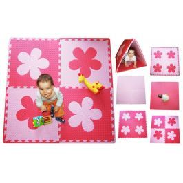 BABY Pěnový  koberec s okraji - růžová,červená, tl.20mm