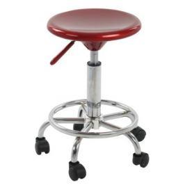 Tempo Kondela Židle na kolečkách, červený plast/chrom, MABEL NEW