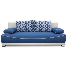 Tempo Kondela Pohovka rozkládací, s úložným prostorem, látka modrá / béžová / polštáře vzor, D
