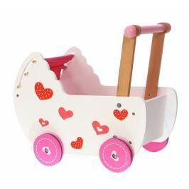 ECO TOYS Dřevěný kočárek pro panenky - růžový