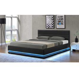 Tempo Kondela Manželská postel s RGB LED osvětlením, černá, 160x200, BIRGET