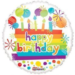 NO NAME Balónek, 45 cm, fólie, s hologramem, Happy Birthday, dort