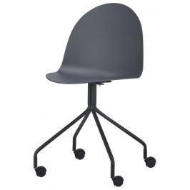 Tempo Kondela Židle s kolečky, plast + kov, tmavě šedá + černá, BRUNA