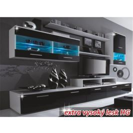 Tempo Kondela Obývací stěna, LED s osvětlením, bílá / černá extra vysoký lesk HG, LEO