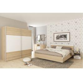 Tempo Kondela Ložnicový komplet (skříň + postel 180x200x, 2 x noční stolek), dub sonoma / bílá