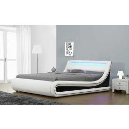 Tempo Kondela Manželská postel s RGB LED osvětlením, bílá / černá, 160x200, MANILA