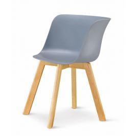 Tempo Kondela Židle, plast + dřevo buk, šedá, LEVIN