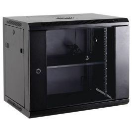NetRack wall/hanging cabinet 19'',15U/450 mm,glass door,grey,remov. side pan.
