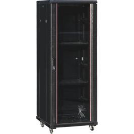 NetRack standing server cabinet 32U/600x1000mm (glass door)-black FULLY ASSEMBLE