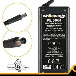 WHITENERGY napájecí zdroj 19.5V/3.34A 65W konektor 7.4x5.0mm + pin