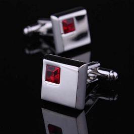 Manžetové knoflíčky - rudě červený krystal