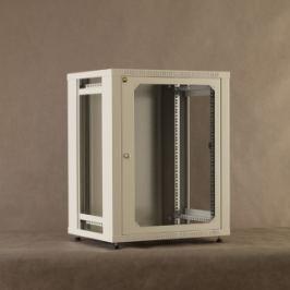 NetRack závěs./stoj. rack 19   15U/450 mm, skleněné dveře, šedý, odnímat. boč.pa