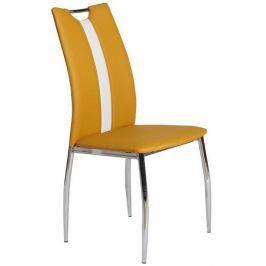 Tempo Kondela Jídelní židle, chrom/ekokůže žlutá kari/bílá, OLIVA