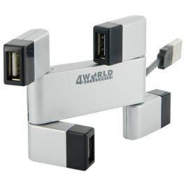 4WORLD 4-portový USB 2.0  hub Rectangle Replikátor USB portů, pasivní, stříbro