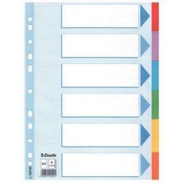 ESSELTE Kartonové rozlišovače Standard, popisovatelná titulní strana, mix barev, A4, 6