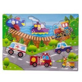 EURO BABY Dřevěné zábavné puzzle vkládací  - transport