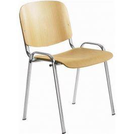 NO NAME Konferenční židle, dřevěná, chromovaná základna, 1120 LC, buk