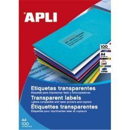 APLI Etiketa, průsvitná, matná, 210 x 297mm, voděodolná, polyester, 20ks/bal.,