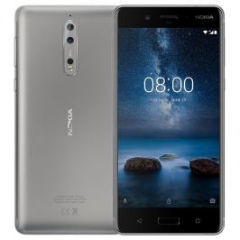 Nokia Phones Nokia 8 Single SIM Silver Steel + Nokia Flipové pouzdro zdarma!
