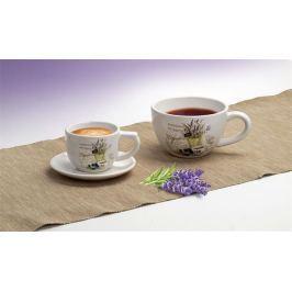 NO NAME Kávový šálek s levandulovým vzorem + podšálek, 400 ml