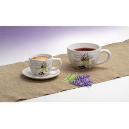 NO NAME Kávový šálek s levandulovým vzorem + podšálek, 250 ml