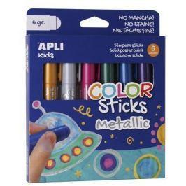 APLI Temperové tyčinky Kids, 6 různých metalických barev,