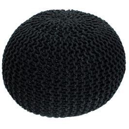 Tempo Kondela Pletený taburet, černá bavlna, GOBI TYP 1
