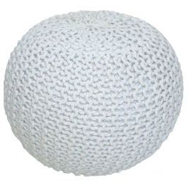 Tempo Kondela Pletený taburet, smetanová (bílý melír) bavlna, GOBI TYP 1