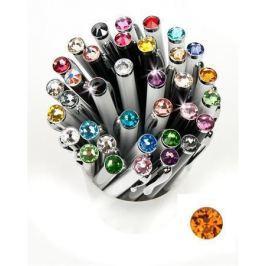 ART CRYSTELLA Kuličkové pero,  SWAROVSKI(R) Crystals, bílá, 14cm Elegante, krystal oranžová