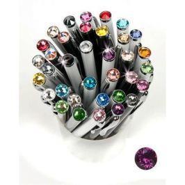 ART CRYSTELLA Kuličkové pero,  SWAROVSKI(R) Crystals, bílá, 14cm Elegante, krystal purpurová