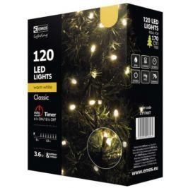 Emos LED dekorační řetěz 120 LED TIMER 12m IP44 WW, teplá bílá