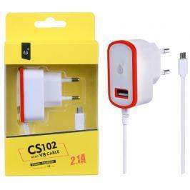 ALIGATOR Nabíječka PLUS MicroUSB s USB výstupem 5V/2,1A, červená