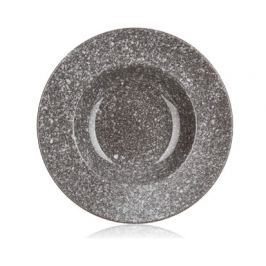 BANQUET Talíř keramický hluboký GRANITE 23,8 cm, hnědý, lesk