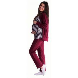 Be MaaMaa Těhotenská souprava 3 dílná - bordó, XL
