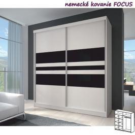 Tempo Kondela Dvoudveřová skříň, 203x218, s posuvnými dveřmi, bílá/bílá/černé sklo, MULTI 11