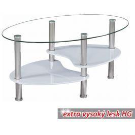 Tempo Kondela Konferenční stolek, ocel/sklo/bílá extra vysoký lesk HG, AXEL NEW