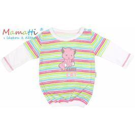 Mamatti Halenka/tričko dlouhý rukáv  CAT - bílé/barevné proužky, 86 (12-18m)