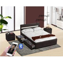 Tempo Kondela Moderní postel s Bluetooth reproduktory a RGB LED osvětlením, černá, 160x200, Fa