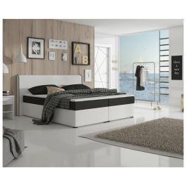 Tempo Kondela Komfortní postel, černá látka / bílá ekokůže, 160x200, NOVARA KOMFORT