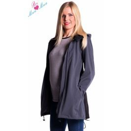 Be MaaMaa Těhotenská softshellová bunda,kabátek - šedá/grafit, XL