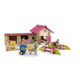 Dřevěná stavebnice Jeujura - 180 dílků - Poney club