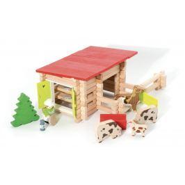 Dřevěná stavebnice Jeujura - 100 dílků - Country ranč