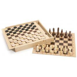 Jeujura Dřevěné šachy a dáma v dřevěném boxu