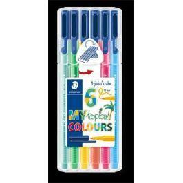 STAEDTLER Fixy Triplus 323 Tropical Box, 6 tropických barev, sada, 1 mm,